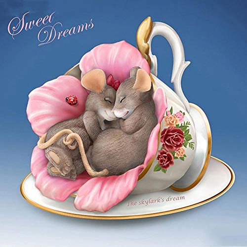 KYYBAX DIY 5D Diamond Painting Drill Kits Two Teacup Rats Rhinestone Picture Art Craft for Home Wall Decor 30 * 40cm