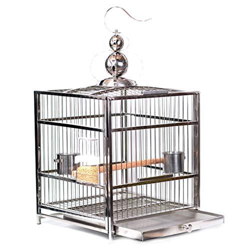 Cages à Oiseaux Toit carré en Acier Inoxydable Perroquet Cage à Oiseaux élevage Cage de baignade Pet Supplies (Color : Regular Version, Taille : M)