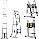 5M 16.4Ft Multi Purpose Telescopic Folding A-Frame Ladder + Free Carry Bag