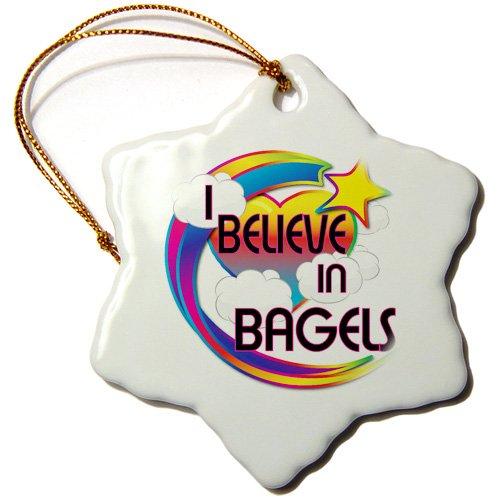 3dRose I Believe In Bagels Cute Believer Design - Snowflake Ornament, 3-inch (orn_166246_1)