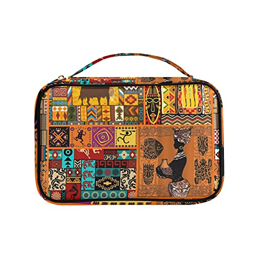 African Elements - Organizador de joyas para collares, pendientes, anillos, pulsera de piel sintética