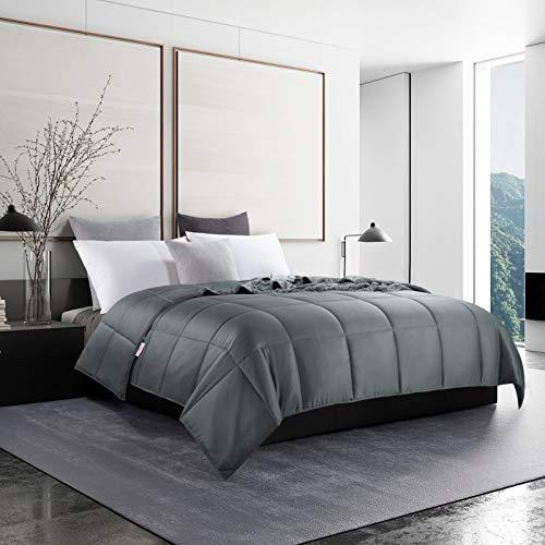 HOMBYS Lightweight Cooling Bamboo Grey Comforter Queen Quilted Down Alternative Comforter Duvet Insert,100% Bamboo Cover with 8 Corner Ties,Summer Comforter,for Night Sweats Hot Sleepers(Queen, Gray)