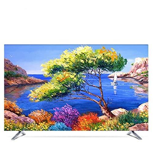 LANCYG TV Cubierta Protectora, Monitor Polvo Funda 19'- 80' Cubierta de Capucha Decorativa de 22 Pulgadas de 75 Pulgadas para TV de Pantalla PC Pintura Paisaje Azul Azul Azul Azul