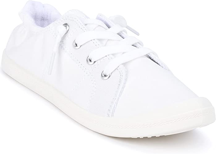 Sowift White Slip On Sneakers for Women Canvas Lace Up Flats Summer Walking Shoes Comfy Casual Low Top Fashion Elastic Width Flats