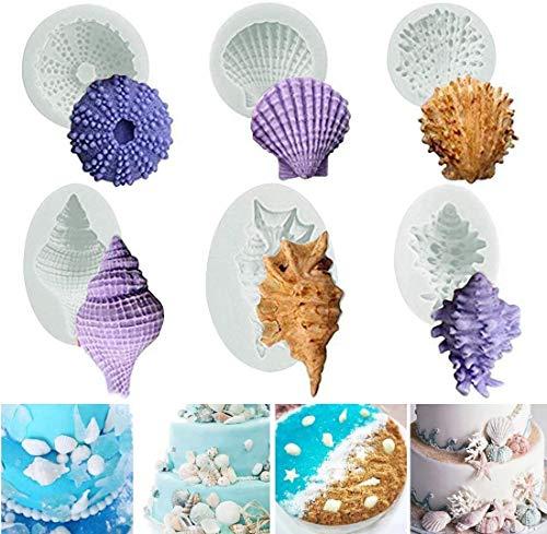 Ocean Animals Cake Molde de silicona para fondant 3D Starfish Sea Shell Conch Cake Decorating Chocolate Candy Jabón Hornear Molde Cocina Sugarcraft DIY Estilo de 6
