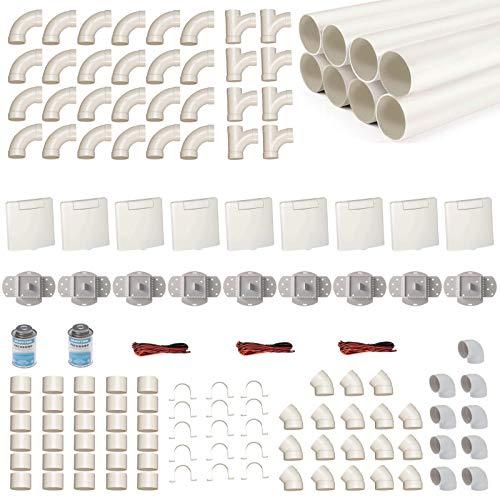 Zentralstaubsauger Einbau-Set für 9 Saugdosen mit Rohren, Fittings & Co. - Montageset für DIY-Einbau einer Staubsaugeranlage - Saugdose VEX-S quadratisch