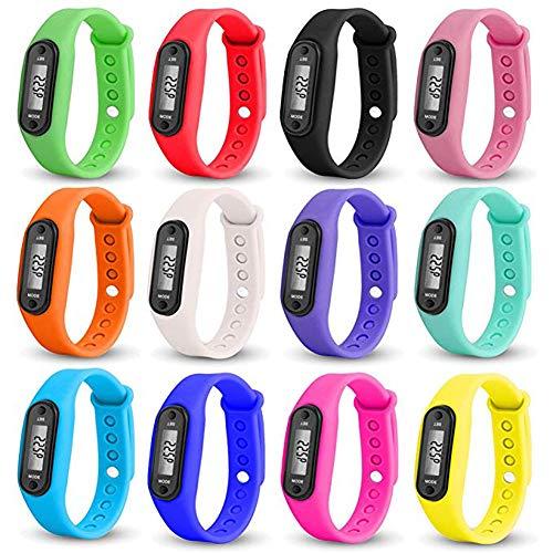 Allring Digitale LCD-sporthorloge met stappenteller, afstand- en calorieberekening, horloge met waterdichte siliconenarmband, horloge voor kinderen en vrouwen en heren