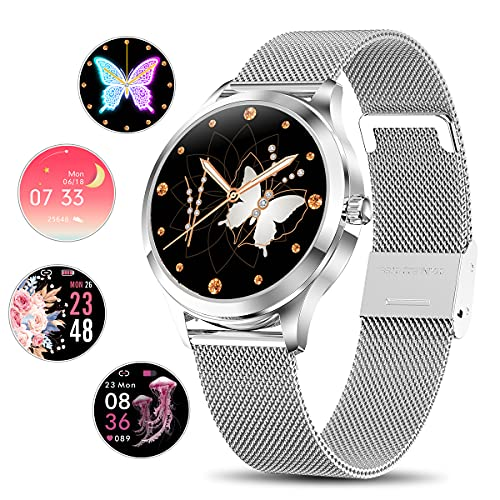 Smart Watch for Women, Yocuby Stylish Smartwatch Bluetooth Fitness Tracker for Ladies with IP68 Waterproof, Female Period Tool, Heart Rate Sleep Monitor Calorie Counter