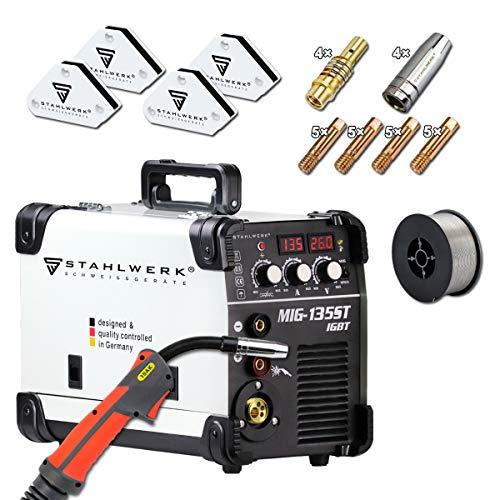 STAHLWERK MIG 135 ST IGBT - Vollausstattung - MIG MAG Schutzgas Schweißgerät mit 135 Ampere, FLUX Fülldraht geeignet, mit MMA E-Hand, 7 Jahre Garantie