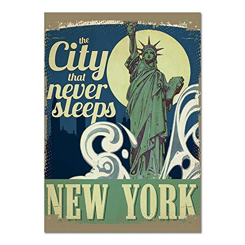 Giallobus - Pintura - Artists Saturday Evening - Travel Poster New York - Plexiglass - 100x140 - Vintage - America - Años 50 - Listo para Colgar