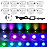QACA Lot de 10 Spots LED Encastrable,Mini Spots Encastré pour Escaliers Pont,Jardin, Patio, Spots Luminaires LED Decoration Eclairage Sécuritaire DC 12V Etanche IP67 (Pack 10, RGB)