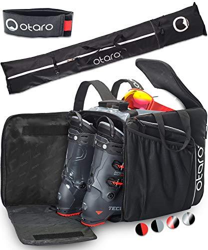 Otaro  Premium Borsa per Scarponi da Sci con Scomparto per Casco PRO (PRO + Borsa da Sci: Grigio Nero)