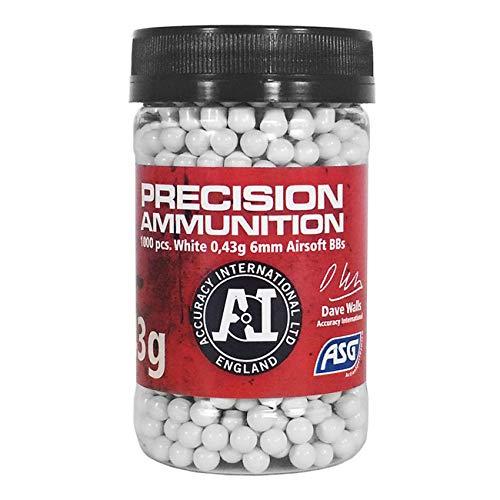 ASG Accuracy International Kugeln, 0,43 g, 1000 Stück, für Erwachsene, Unisex, Weiß, Einheitsgröße