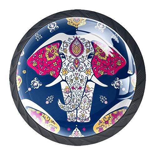 Mandala und Elefant, geometrisches Kreis, Kaleidoskop-Muster, Schubladengriffe, Schränke, Schminktische, Kommoden, Griffe mit Schrauben, 4 Stück, ABS, Mehrfarbig01, 3.5×2.8CM/1.38×1.10IN