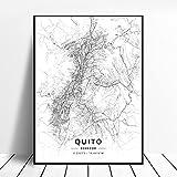 zhuifengshaonian Póster Mapa del Arte de la Lona de Guayaquil Quito Ecuador (ZQ-1533) Sin Marco Poster 50x70cm
