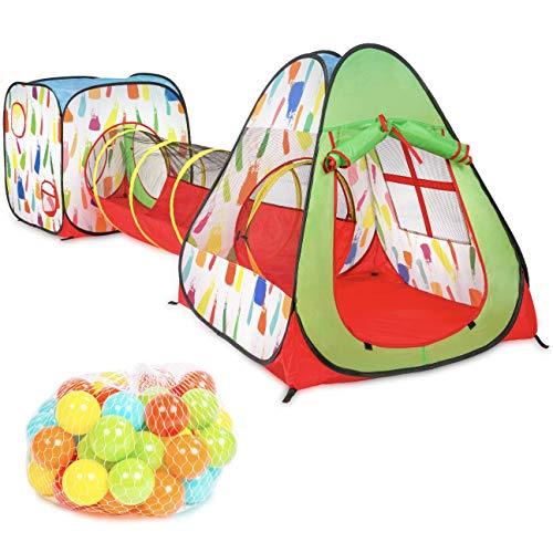 Milliard - Tenda da gioco pop-up per bambini con tunnel per interni ed esterni, 50 palline con custodia portatile