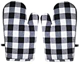 GLUN Pair of Extra Padded Unique Check Pattern Oven Gloves Heat Resistant, Protection of Hands from Hot Utensils, Grill, Barbecue (Black & White Oven Gloves)