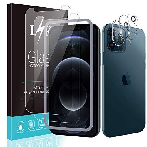 LϟK [4 Pezzi] 2 Pezzi Pellicola Protettiva Compatibile con iPhone 12 PRO Max 5G 6.7'' Vetro Temperato + 2 Pezzi Fotocamera Posteriore Pellicola, Kit d'Installazione/Senza Bolle Schermo Protettivo
