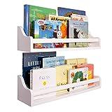 "Kids Bookshelf Wall Mounted (Set of 2) | 22""| Children's Nursery Floating Shelf Toddler Book Case Furniture Baby Rack Storage Reversible Large White Wooden Shelves Toys Display Organizer Easy Install"