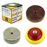 Diamante Almohadilla de Pulido Set de 11 discos para pulir con cojinete metálico de Stonecraft | 100 mm | M14 | Granito, mármol, piedra y hormigón