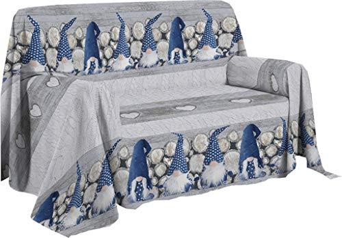 Pezzoli Shop Telo arredo copritutto copridivano granfoulard GNOMI (Blu, cm 180 x 290)