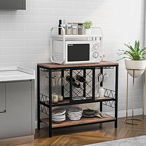 Estante multifuncional para vino, mesa consola, mesa de consola vintage, estante de vino en forma de diamante, estante de almacenamiento para cocina comedor (marrón, OneSize)