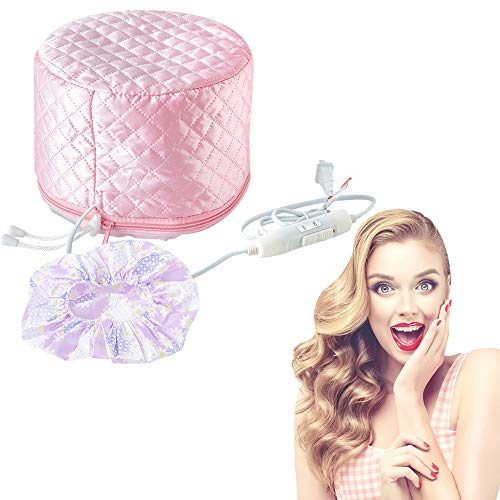 Hair Care Cap, 110V Hair Heat Treatment Cap, Deep Conditioning Heat Cap, Thermal Treatment Caps for Hair Spa, Beauty Steamer Nourishing Hat for Family Personal Care (Pink)