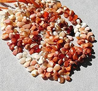 Wow Five Mexican Fire Opal Flat Briolette Beads for Jewelry Making 5781