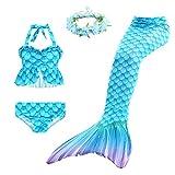 Disfraz de Sirena para Niña Nadar Lindo 3 Piezas Colas de Sirena Cosplay Trajes Tankini y Diademas de Flores