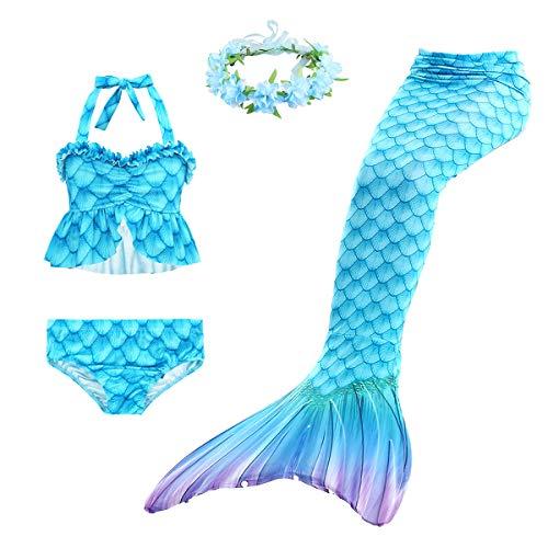Disfraz de Sirena para Nia Nadar Lindo 3 Piezas Colas de Sirena Cosplay Trajes Tankini y Diademas de Flores
