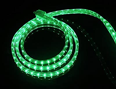 CBConcept® 30 Feet 120 Volt LED SMD3528 Flexible Flat LED Strip Rope Light - [Christmas Lighting, Indoor / Outdoor rope lighting, Ceiling Light, kitchen Lighting] [Dimmable] [Ready to use] [3/8 Inch Width x 1/4 Inch Thickness]