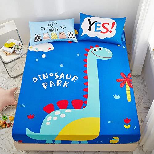 Nuoxuan Suave y Cómoda Sábanas,Sábana de Ajuste único de Dibujos Animados de algodón 100%, Cubierta Protectora Antideslizante para Dormitorio de niños y niñas-Sky_Blue_180 * 200cm