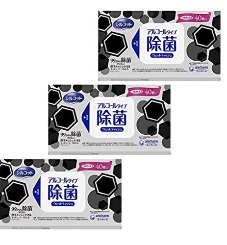 40枚入り 除菌 ウェットティッシュ アルコール 無香料 外出用 シルコット ユニチャーム 殺菌 ウェット シート (3個セット)