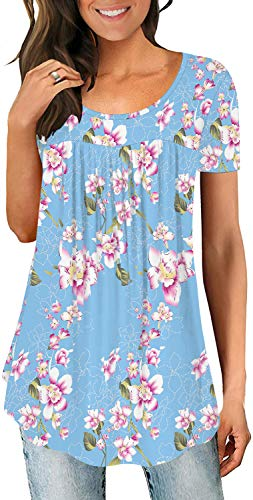 LONGYUAN Women's Lounge Comfort Tunic Loose Fitting Short Sleeve Tops Cotton Cute Blouse Floral Light Blue X-Large (Apparel)