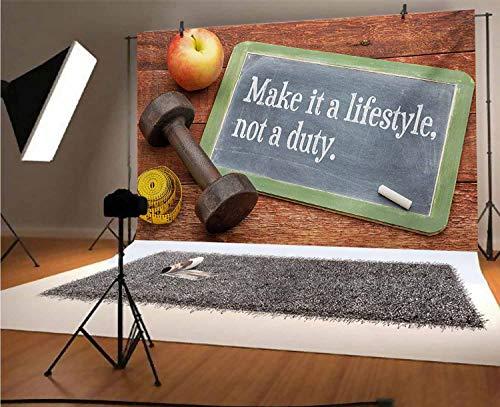 Fondo de fotografía de vinilo de 5 x 3 pies, Make It a Lifestyle Not a Duty Pizarra de Apple Dumbbell Cinta métrica sobre fondo de madera para foto de bebé recién nacido Foto Studio Props