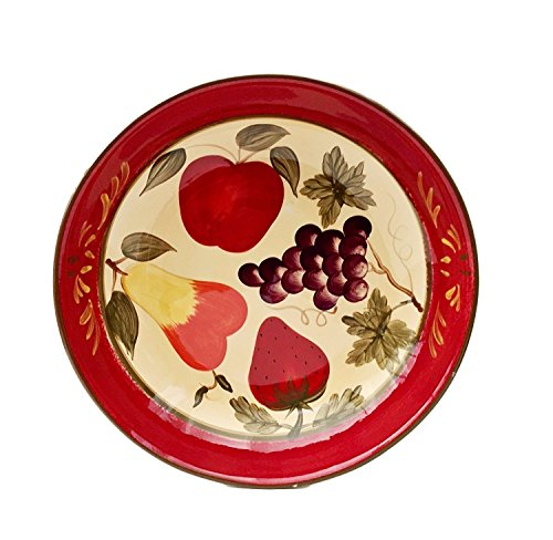 "Tuscany Garden Colorful Hand Painted Mixed Fruit, Serving Pasta Bowl Salad Fruit 13-1/2""W, 89299 by ACK"