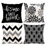 Hexagram Geometric Black Pillow Covers 18x18 Set of...