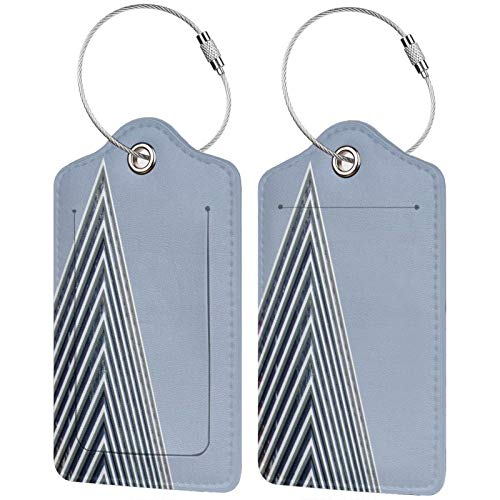 2 Pack FULIYA High-end Leather Luggage Tags for Suitcases - Travel ID Identifier Labels Set for Bags & Baggage - Men & Woman,Building, Facade, Architecture, Geometry, Lines