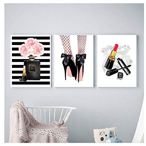 N/A Lápiz Labial Lámina Escandinava Perfume Moderno Tacones Altos Pintura de la Lona Nordic Gril Decoración de la habitación Imágenes de la Pared Decoración del Cartel 40x60cmx3 sin Marco