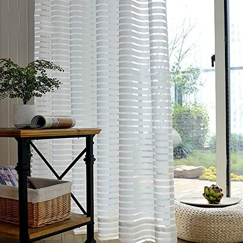 YAHLSEN Gestreifte Tüll Vorhänge for Wohnzimmer Schlafzimmer Küche Wohnkultur Q
