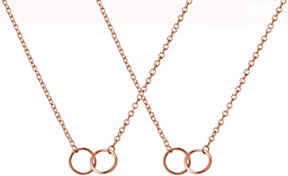 YANCHUN 2Pcs Friendship Necklace,Soul Sister Necklace for 2,Mother Daughter Necklace,2 Interlocking Circles Necklace