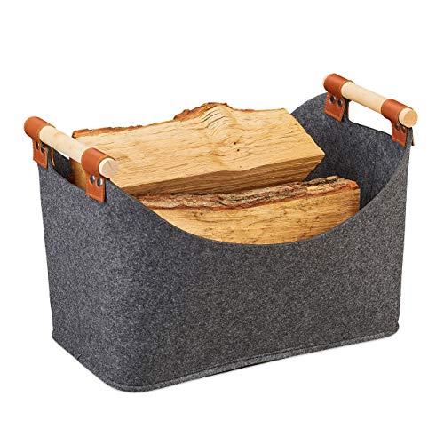 Relaxdays Filztasche, Aufbewahrungskorb Filz, Faltbare Aufbewahrungsbox, Filzkorb Henkel, HBT 27x40x22 cm, dunkelgrau