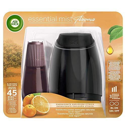 Air Wick Essential Mist - Aparato y recambio de ambientador difusor, esencia para casa con aroma a Explosión Cítrica, pack de 1 aparato y 1 recambio