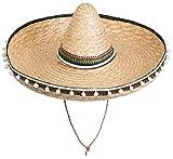 Brandsseller Sombrero Mexikohut Sombrero de paja para fiestas, para el sol o la playa, con borlas, color beige y multicolor