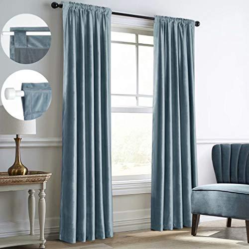 Mitlatem Full Blackout Velvet Curtains Rod Pocket Back Tab Bedroom Blind Window Treatment, Haze Blue, 52 x 84 inch x 2 Panels