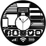 ZZNN Geek Gadget Reloj de Pared de Vinilo Registro Diseño único Decoración para el hogar y la habitación de los niños Diseño Retro Oficina Bar Habitación Decoración del hogar