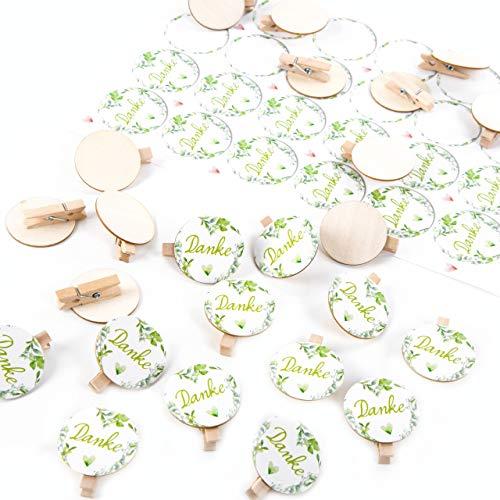 Logbuch-Verlag Set 24 Aufkleber Danke + 24 Holzklammern runde Scheibe Dankesaufkleber in grün mit Herz Deko Dankeschön Geschenk Dankeskarte Hochzeit