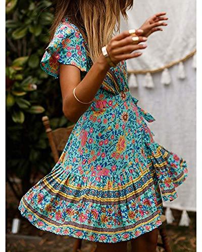 Abravo Mujer Vestido?Bohemio Corto Florales Nacional Verano Vestido Casual Magas Cortas Chic de Noche Playa Vacaciones,Azul,L