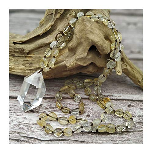 QWERBAM Punto de Cuarzo Natural Colgante Amatistas Rose Cuarzs Chips de Piedra Beads Knot Collar Hecho a Mano 80 cm de Largo (Metal Color : Citrine)