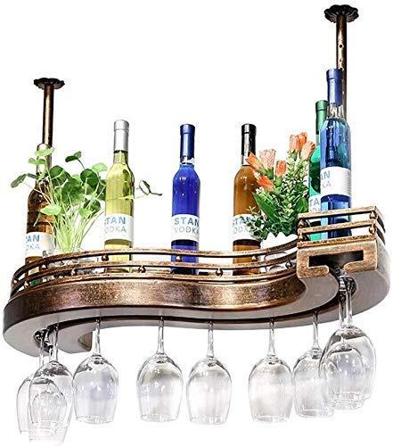 FWZJ Estante de vino para colgar en el techo de estilo europeo | Soporte creativo para almacenamiento de botellas de vino | Estante para copas de vino de 60/80/100 cm (tamaño : 100 cm)